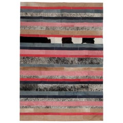 Peach, black & white stripes Nueva Raya Customizable Cowhide Area Rug Large