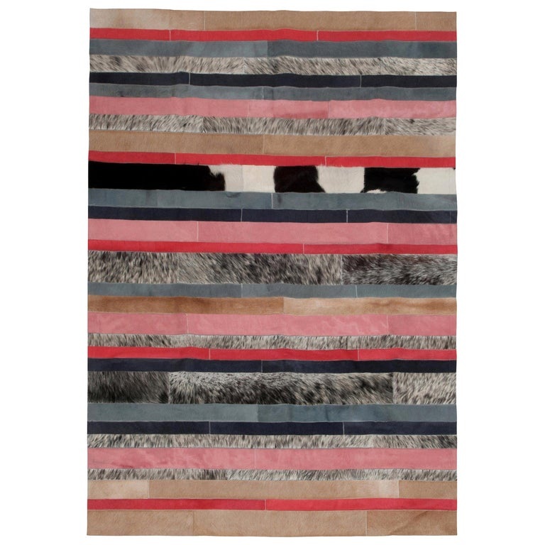 Peach, black & white stripes Nueva Raya Customizable Cowhide Area Rug Large For Sale