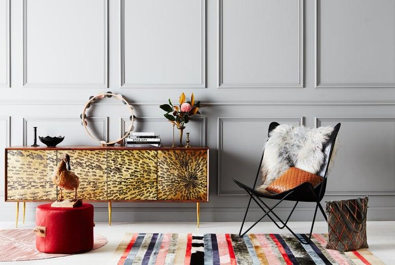 Art Deco Peach, black & white stripes Nueva Raya Customizable Cowhide Area Rug Medium For Sale
