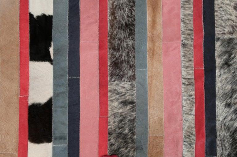Pakistani Peach, black & white stripes Nueva Raya Customizable Cowhide Area Rug Medium For Sale