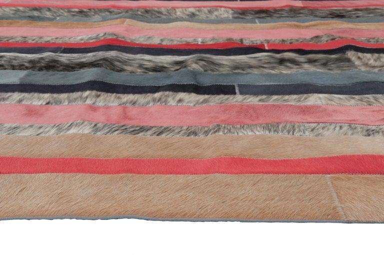 Machine-Made Peach, black & white stripes Nueva Raya Customizable Cowhide Area Rug Medium For Sale