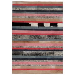 Peach, black & white stripes Nueva Raya Customizable Cowhide Area Rug Medium