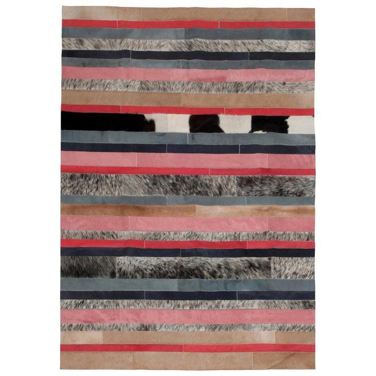 Peach, black & white stripes Nueva Raya Customizable Cowhide Area Rug Medium For Sale
