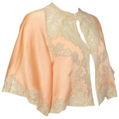 Peach Charmeuse and Illusion Lace Bed Jacket with Flutter Sleeves – S-M, 1930s