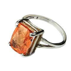 Peach Color Imperial Topaz Set in Sterling Silver Ring