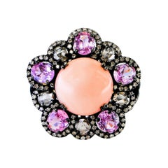 Peach Coral, Pink Sapphire and Diamond Ring