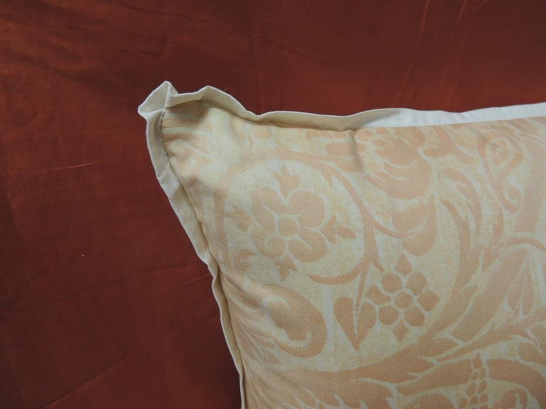 """Renaissance Peach Fortuny """"Uccelli"""" Printed Vintage Decorative Pillow For Sale"""