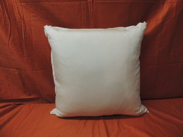 """Hand-Crafted Peach Fortuny """"Uccelli"""" Printed Vintage Decorative Pillow For Sale"""