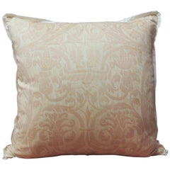 "Peach Fortuny ""Uccelli"" Printed Vintage Decorative Pillow"