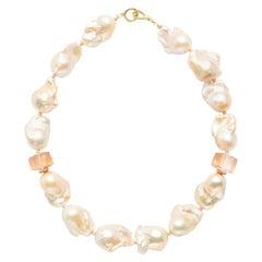 Peach Freshwater Baroque Pearls with 14 Karat Rose Gold Diamond Rondelles