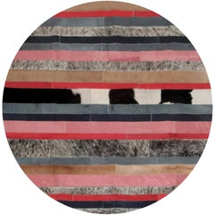 Peach, Gray & White Round Nueva Raya Customizable Cowhide Area Floor Rug Large