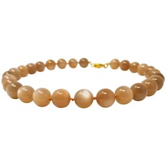 Peach Moonstone and 18 Karat Beaded Necklace