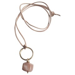 Peach Moonstone Gemstone Chakra Love Talisman Leather Necklace