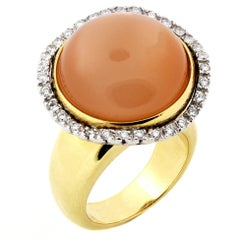 Peach Moonstone Gold and Diamond Ring