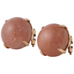 Peach Moonstone Shape Round on Rose Gold Stud Earring