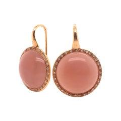 Peach Moonstones and Whites Diamonds Round Drop Earrings
