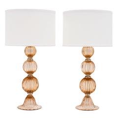 Peach Murano Glass Lamps
