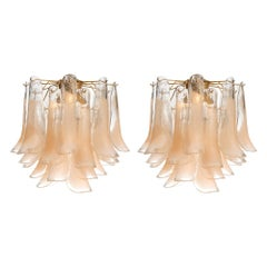 "Peach Murano Glass ""Selle"" Chandeliers"