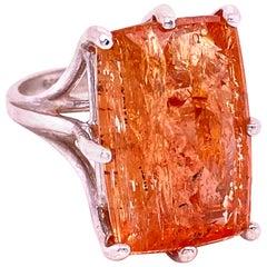 Peach-Orange Rectangular Imperial Topaz in Sterling Silver Ring