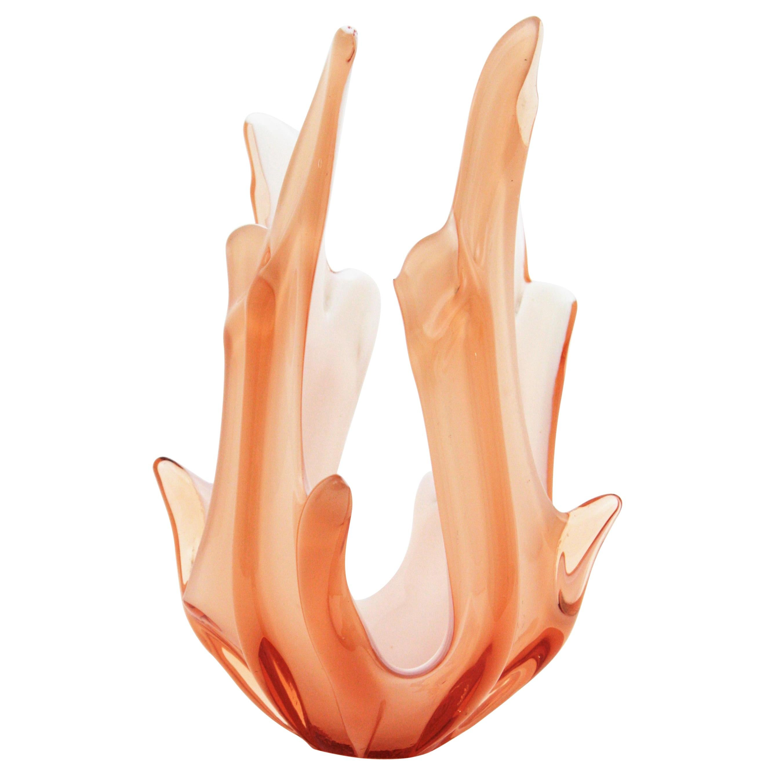 Peach Pink and White Murano Art Glass Centerpiece Vase