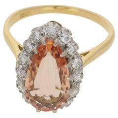 Peach Topaz Diamond Cluster Ring