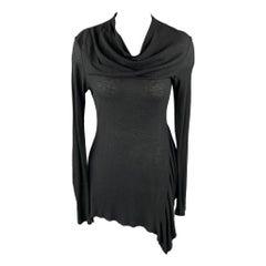 PEACHOO+KREJBERG Size S Black Cotton Asymmetrical Casual Top