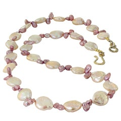 Peachy Coin Pearl and Mauve Briolette Pearl Necklace
