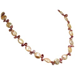 Coin Pearl and Mauve Briolette Pearl Necklace