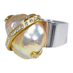 Peachy Pink Baroque Pearl with Diamond and 22 Karat Gold Ribbon Cocktail Ring