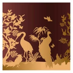 Peacock and Herons Silhouette Panel