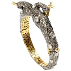 Peacock Bangle with Diamonds in Gold and Silver