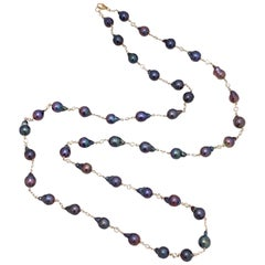 "Peacock Baroque Pearl 50"" Long Station Vermeil Necklace"