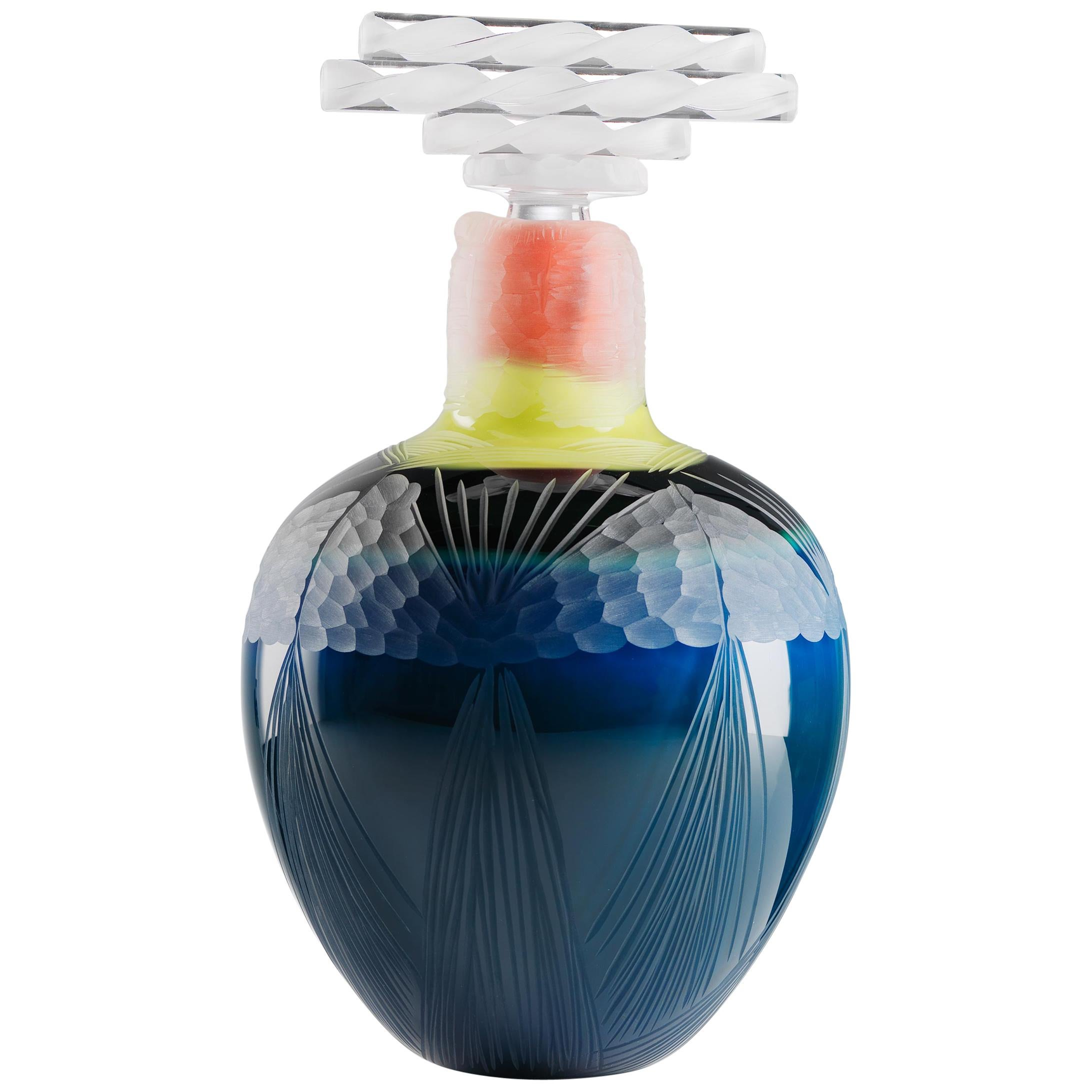 Peacock Blown Glass Vase Handmade by Juli Bolaños-Durman