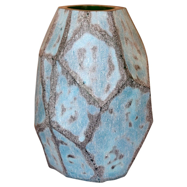 Peacock Blue Glass Vase, China, Contemporary For Sale