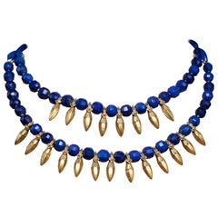 Peacock Blue Lapis, 22 Karat Gold Beaded Necklace by Deborah Lockhart Phillips