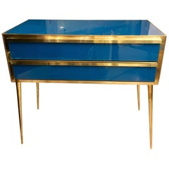 Peacock Blue Opaline Glass Chest of Drawers Brass Fittings, 1950s
