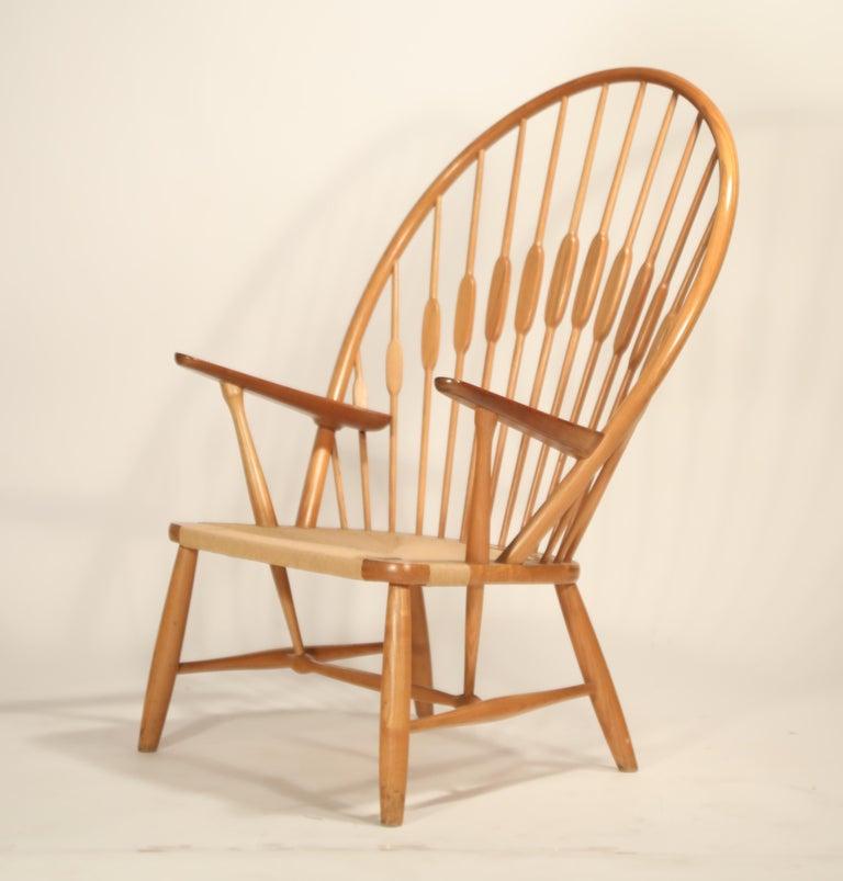 Scandinavian Modern Peacock Chair by Hans Wegner for Johannes Hansen, 1960s Denmark, Signed For Sale