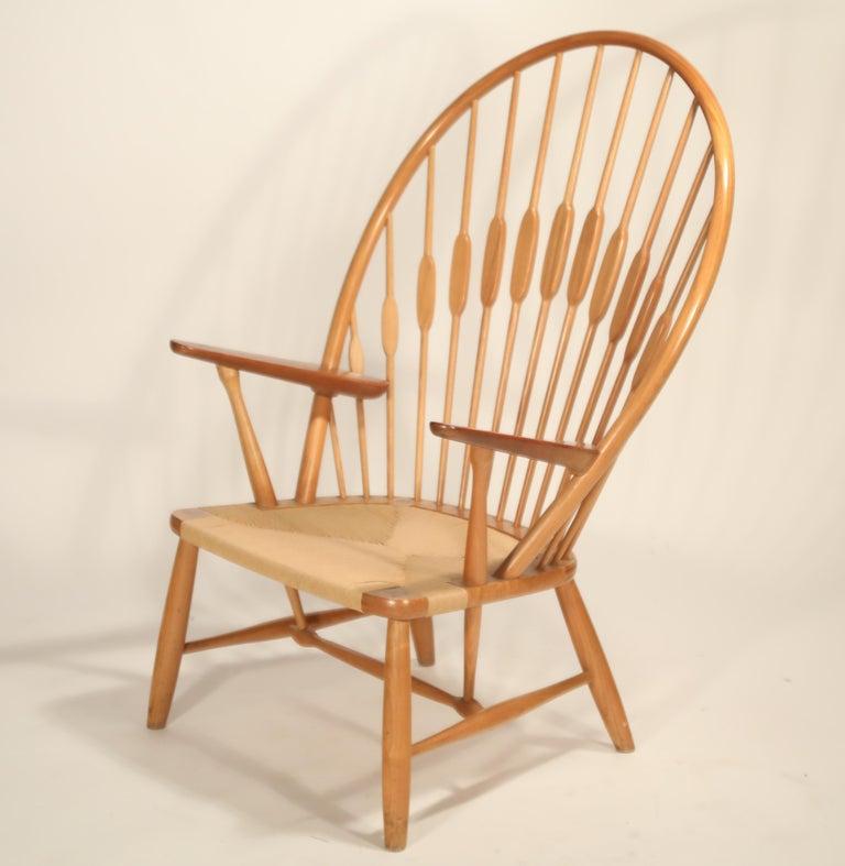 Danish Peacock Chair by Hans Wegner for Johannes Hansen, 1960s Denmark, Signed For Sale