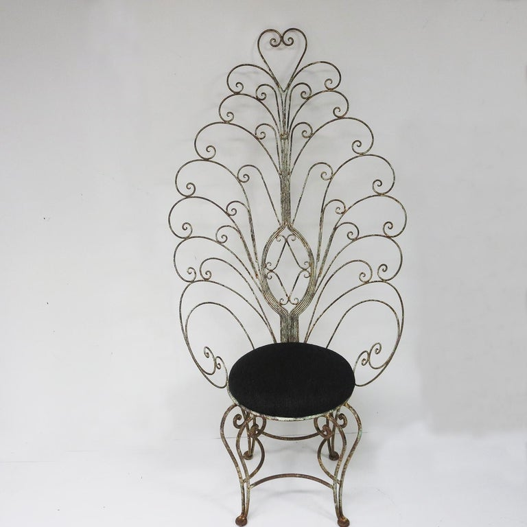 Art Nouveau 30's Peacock Chairs, Rustic Painted Iron For Sale