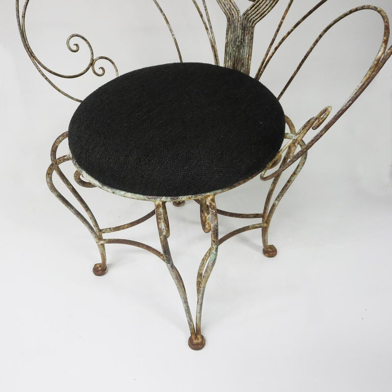 Early 20th Century 30's Peacock Chairs, Rustic Painted Iron For Sale