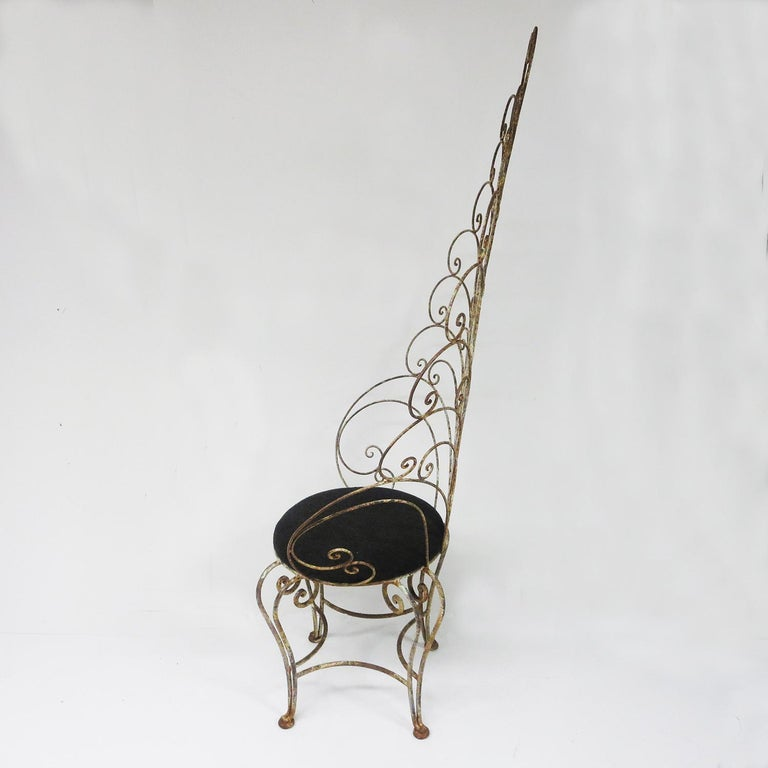 30's Peacock Chairs, Rustic Painted Iron For Sale 1