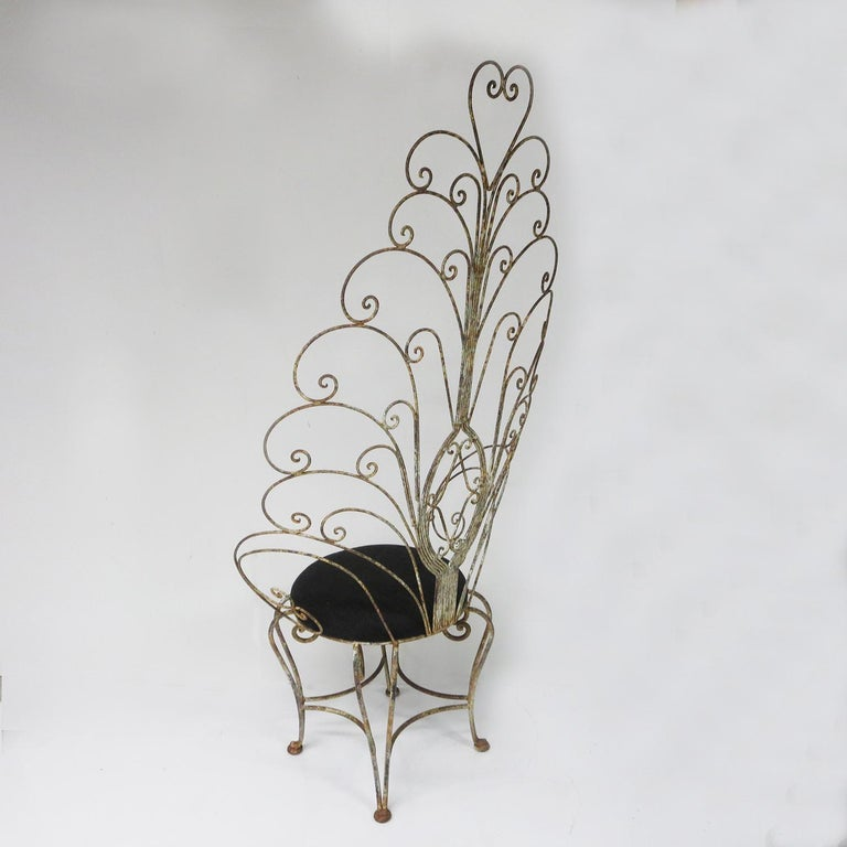 30's Peacock Chairs, Rustic Painted Iron For Sale 2