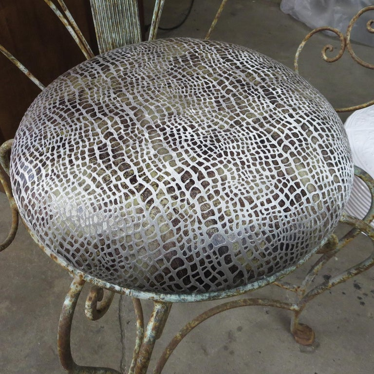 30's Peacock Chairs, Rustic Painted Iron For Sale 3