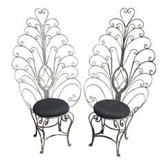 Peacock Chairs, Rustic Painted Iron