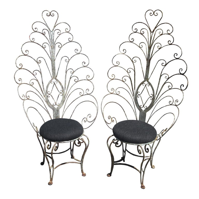 30's Peacock Chairs, Rustic Painted Iron For Sale