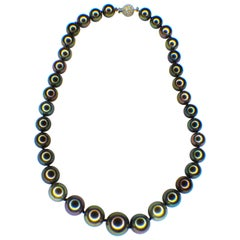 Peacock Color, Tahiti Culture Pearl Necklace, Modern