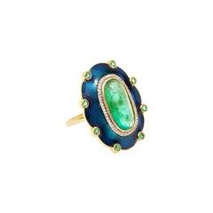 Peacock Columbian Emerald Cocktail Ring