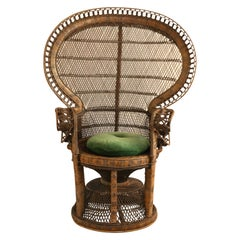 Peacock Emmanuelle High Back Wicker Throne Armchair