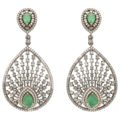 Peacock Fan Emerald and Diamond Earrings