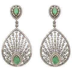 Peacock Fan Emerald and Diamond Earrings
